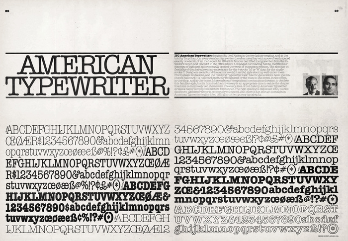 American Typewriter as introduced in ITC's U&lc magazine, volume 1, no. 3 (1974).