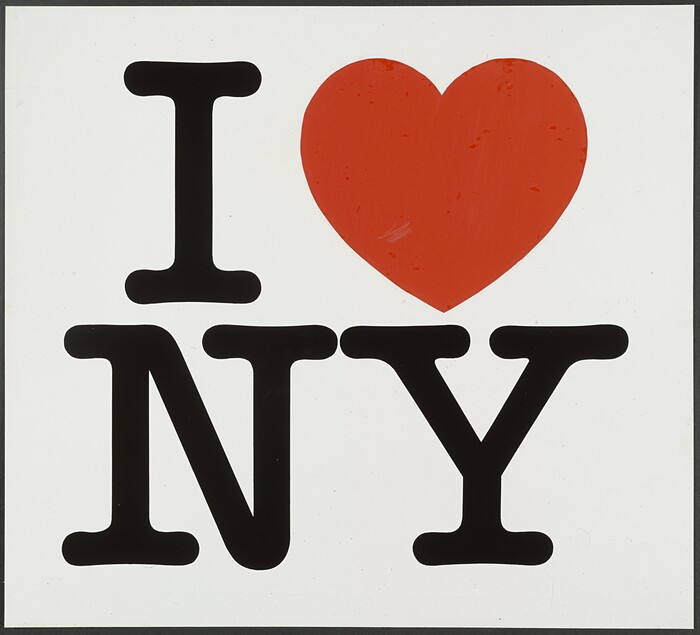 """""""I ❤️ NY"""" presentation board, two-line version, 1976, as archived in MoMA's permanent collection."""