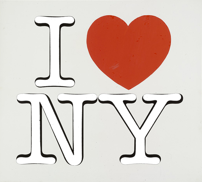 """The """"I ❤️ NY"""" logo (from the 1976 presentation board), overlain by scanned letterforms from ITC American Typewriter Regular (phototype version as shown in a catalog by Phil's, 1980) in white."""