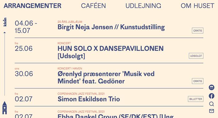 Karens Minde Kulturhus website with program.