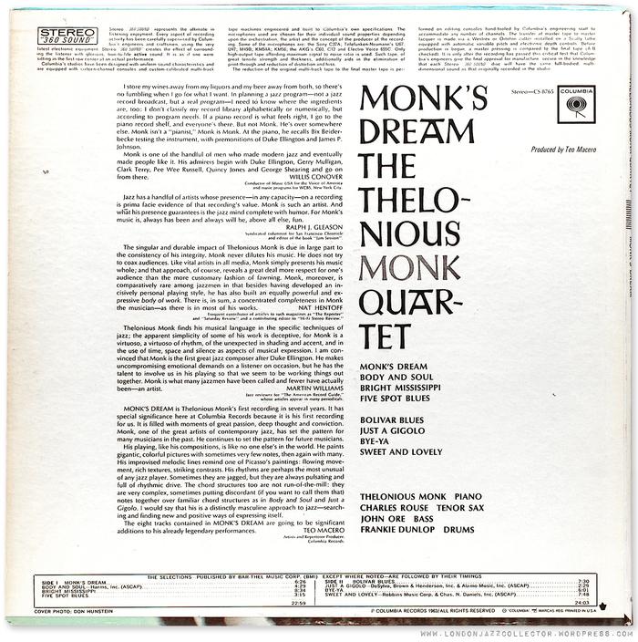 Thelonious Monk Quartet – Monk's Dream album art 2