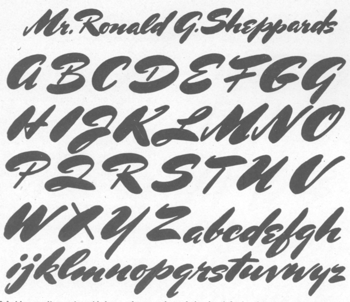 Charles Bluemlein's script alphabet as shown in the 1944 edition of Script and Manuscript Lettering, titled Mr. Ronald G. Sheppards.