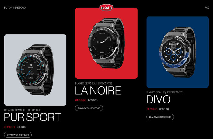 Bugatti smartwatches website 3