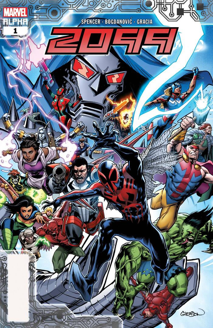 2099 Alpha #1 was published in November 2019. The artist names sitting above the logo are set in  Extra Condensed.