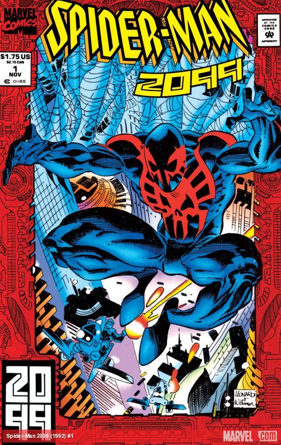 """Spider-Man 2099 #1 was published in November 1992. """"Spider-Man"""" is probably hand-drawn."""