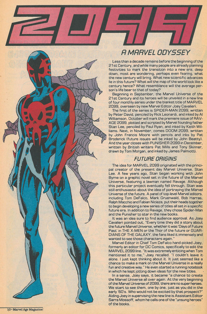 Marvel Age Magazine was a promotional magazine released periodically by Marvel Comics. This page came from an issue sometime between 1992 and 1994. Body text is set in , with headings in .