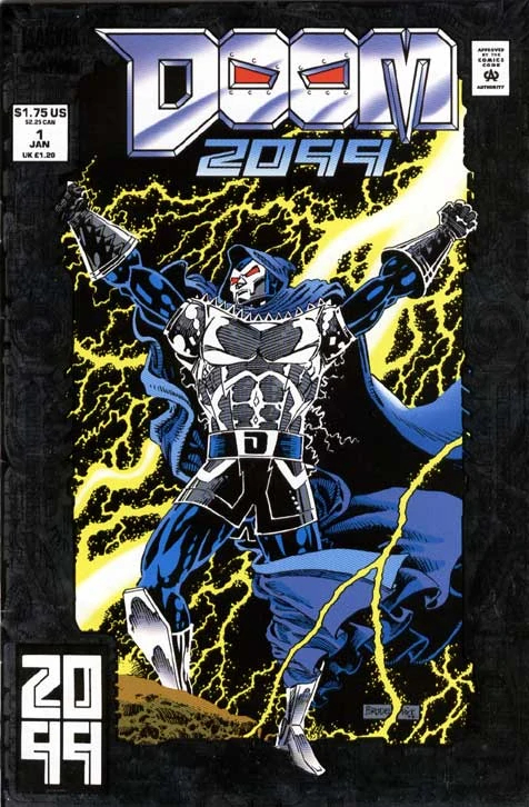 """Doom 2009 #1 was published in January 1993. """"Doom"""" is hand-drawn, while """"2099"""" is set in ."""