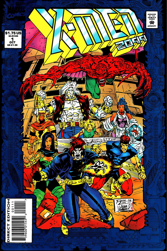 """X-Men 2009 #1 was published in October 1993. """"X-Men"""" is hand-drawn, with """"2099"""" being modeled after , with a 3D effect added."""