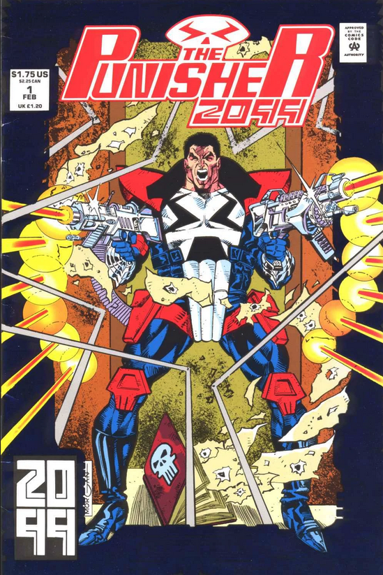 """Punisher 2009 #1 was published in February 1993. """"Punisher"""" is hand-drawn."""