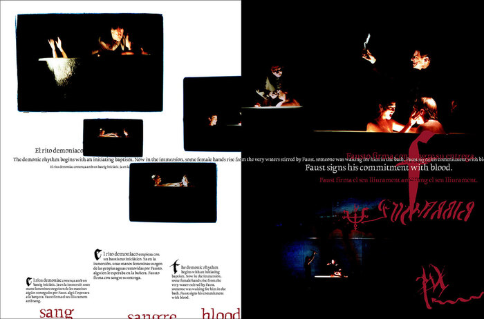 Double page spread from the program book of the theatre performance Faust by La Fura dels Baus from Barcelona.