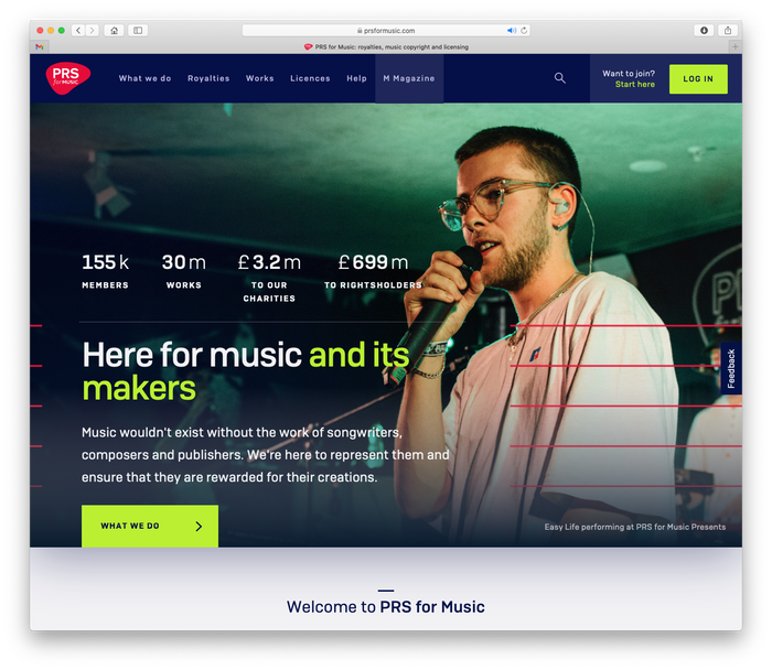 PRS for Music website 1