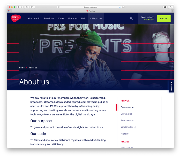 PRS for Music website 2