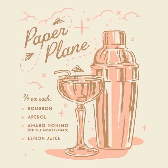 Paper Plane cocktail recipe card