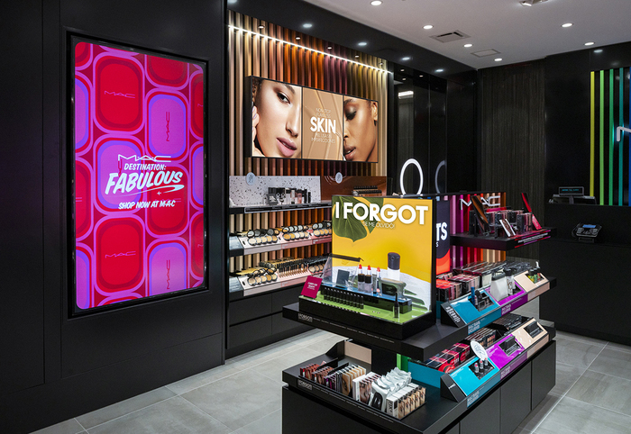 M·A·C Cosmetics store in Salt Lake City International Airport. Product information is displayed via digital signage, and consumers can access product info, video demonstrations and other content via QR codes with their smartphones.