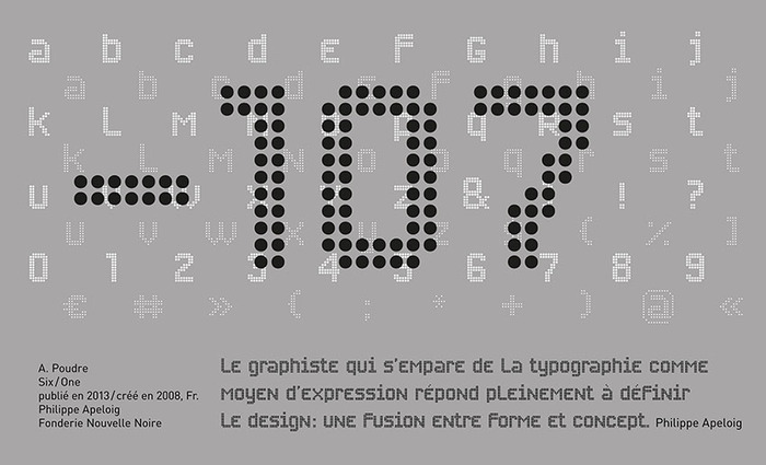 Billboard for number 107. Quote and type (Poudre) by Philippe Apeloig.