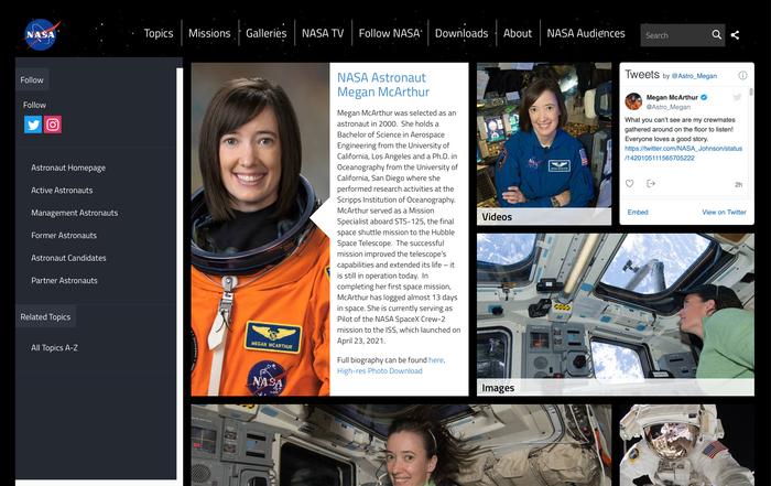 Astronaut profile page.