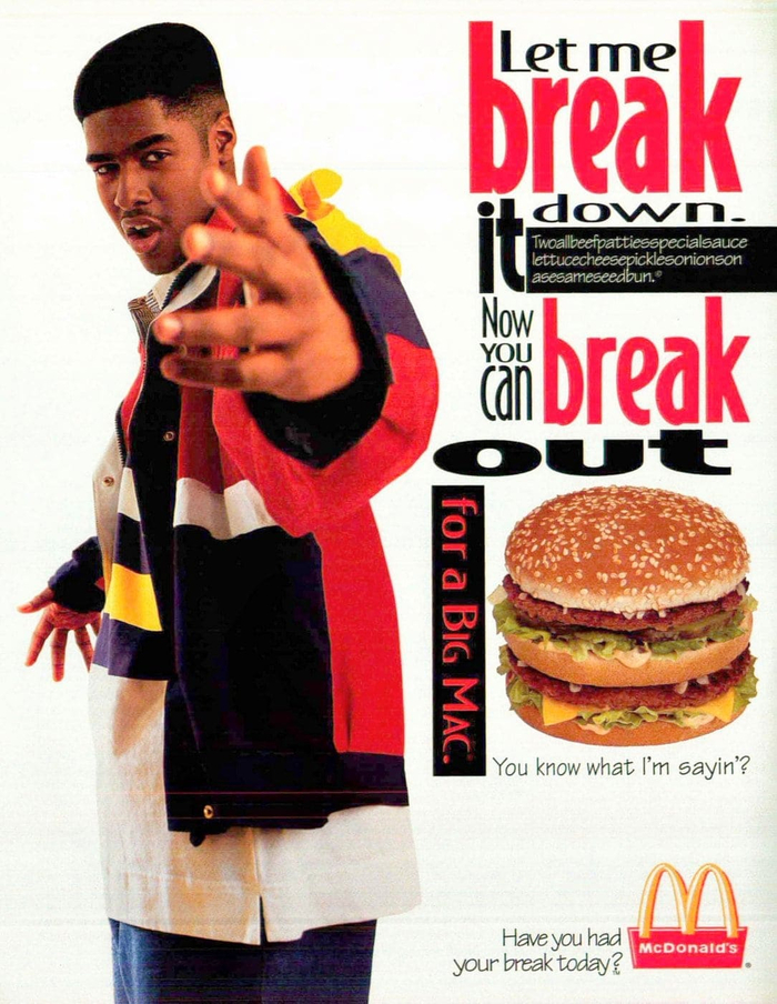 """This McDonald's print ad likely is from 1997. It features the the tagline """"Have you had your break today?"""", which was used from 1995 to 1997. Multiple weights of Bodega Sans are used for the headline, and Tekton is used for the slogan at the bottom right."""
