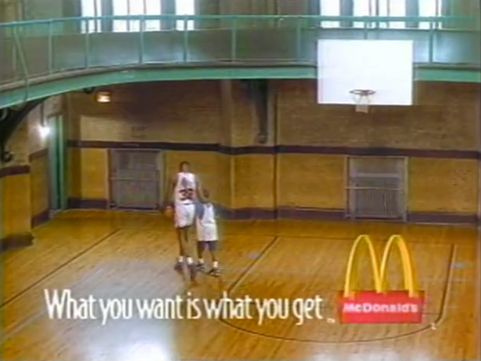 """1994 McDonald's commercial, featuring the tagline """"What you want is what you get"""", set in Bodega Sans."""