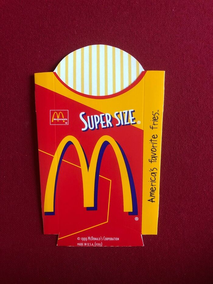 """McDonald's French fries packaging from 1999. Bodega Sans is used for """"Super Size""""."""