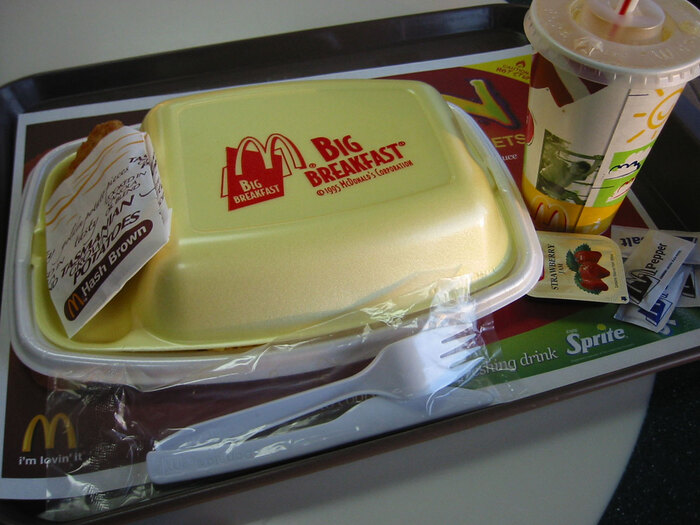 McDonald's packaging for the Big Breakfast meal, from 1995. Bodega Sans is used.