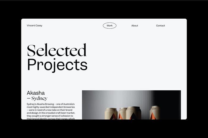Vincent Casey portfolio website 3