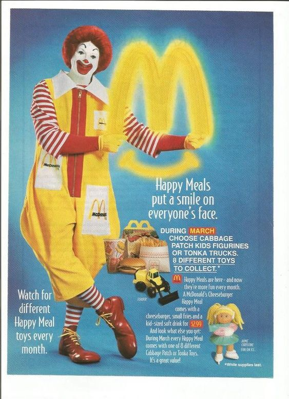 A McDonald's Happy Meal print ad from 1995, set in Bodega Sans, with some text in .
