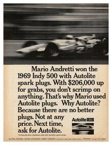 Autolite spark plugs ad (1969)