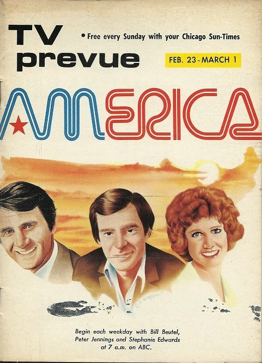 """Cover of the TV Prevue by the Chicago Sun-Times for February 23 to March 1, 1975. """"TV prevue"""" is in  Bold Extended."""