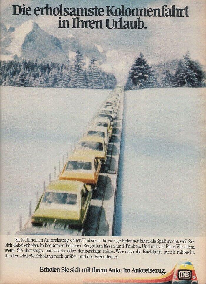 """""""Die erholsamste Kolonnenfahrt in Ihrem Urlaub."""" (1974)"""