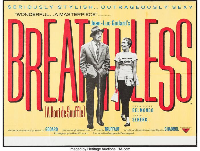 Breathless (1960) British movie poster