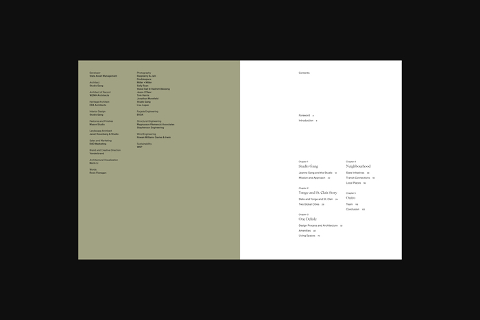 Brochure table of contents.