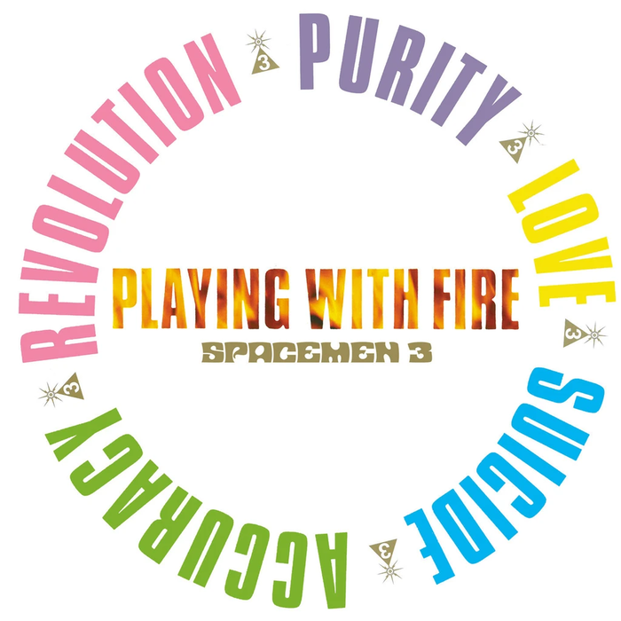 Playing With Fire, published by Fire Records 1989. Design by the Robert Winterman Design Group. The condensed grotesk on a circle is .