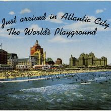 """""""Just arrived in Atlantic City"""" postcard"""