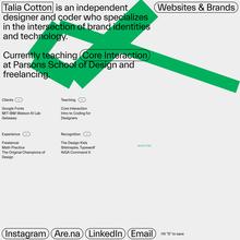 Talia Cotton website (2020)