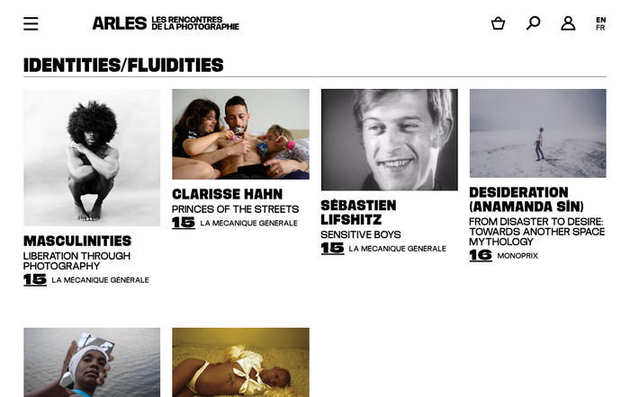 Website detail with exhibition overview.