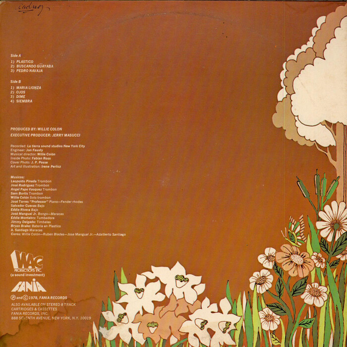 Back cover, with track names and credits set in .