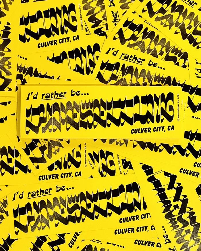 """I'd rather be typesetting"" bumper sticker 1"
