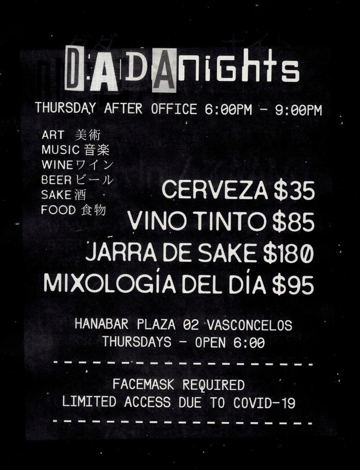 Dada Nights flyers, September 2021 4