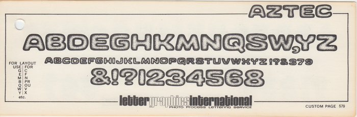 Aztec as shown in a Lettergraphics catalog fom 1969.
