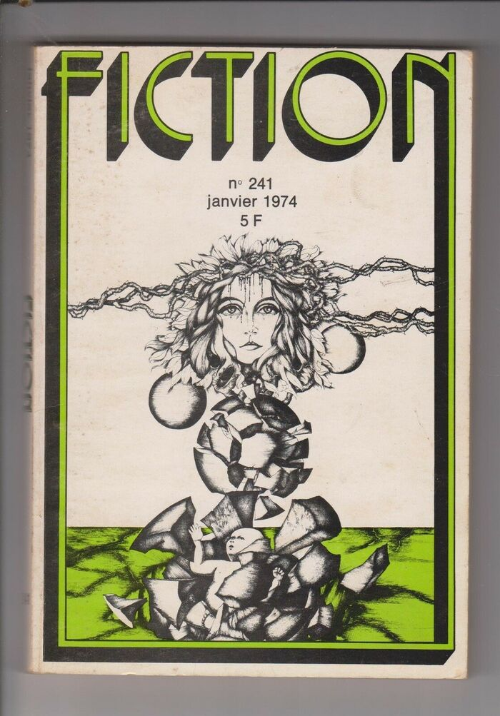 Fiction #241, January 1974, with a bichromatic logo and cover art by Daran.