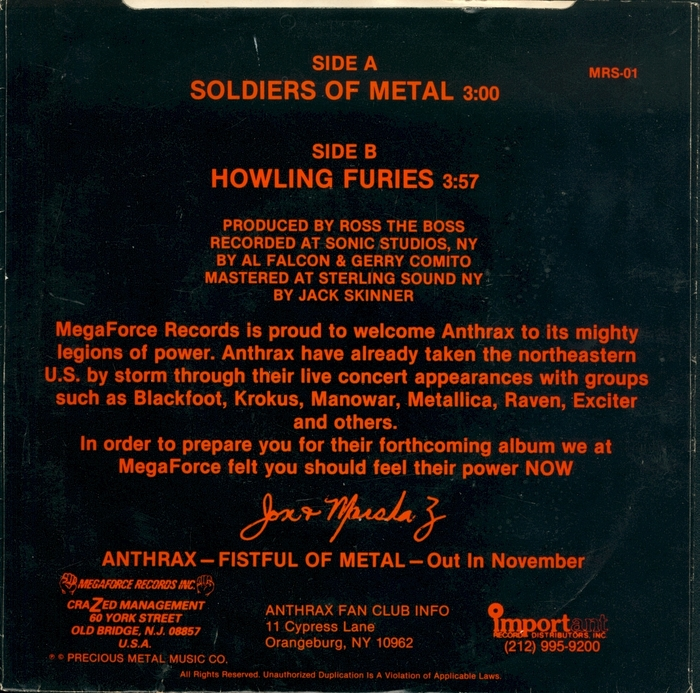 """Anthrax – """"Soldiers Of Metal"""" / """"Howling Furies"""" single cover 2"""