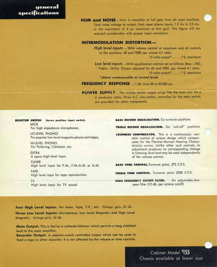 Audio Consolette Model 1 (1952 edition) sales sheet