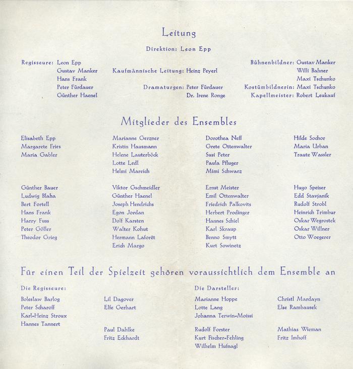Programmheft Volkstheater Wien 4