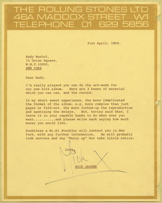The Rolling Stones 1969 letterhead