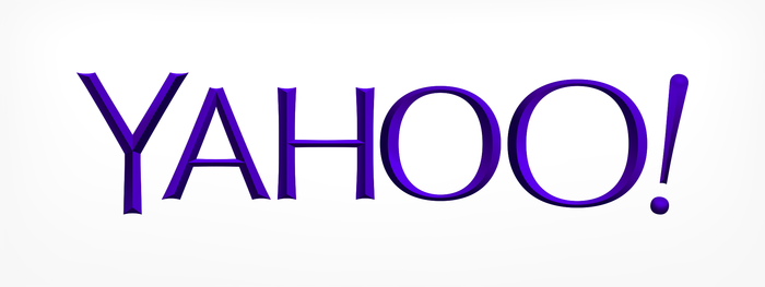 "The official Yahoo! logo. The tracking is very tight and the kerning in ""AHOO"" only acknowledges the extreme edge of each letter, leading to uneven spacing throughout."