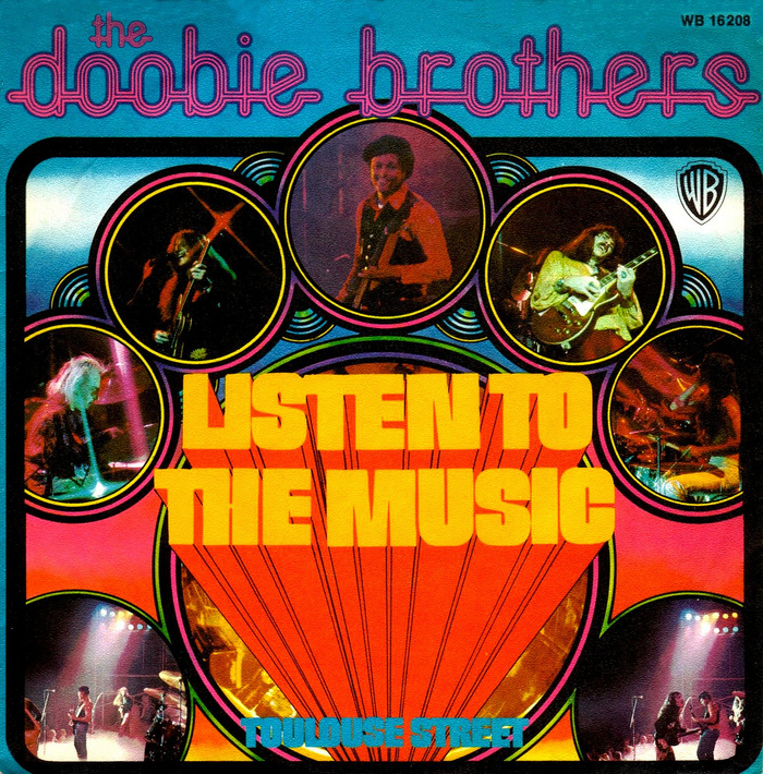 """The Doobie Brothers – """"Listen To The Music"""" German single cover (1974)"""