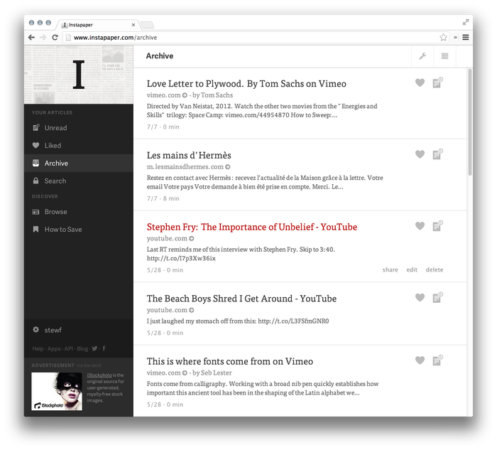 Instapaper Website (2013 Redesign) 2