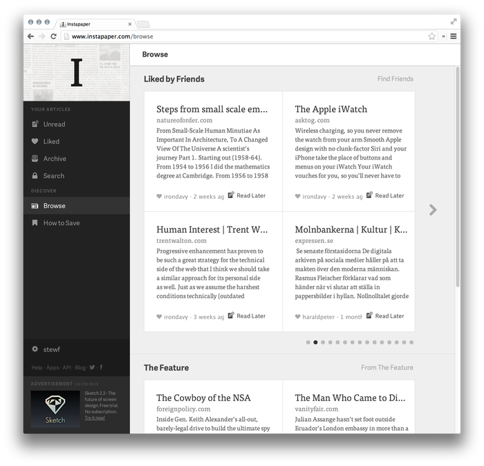 Instapaper Website (2013 Redesign) 3