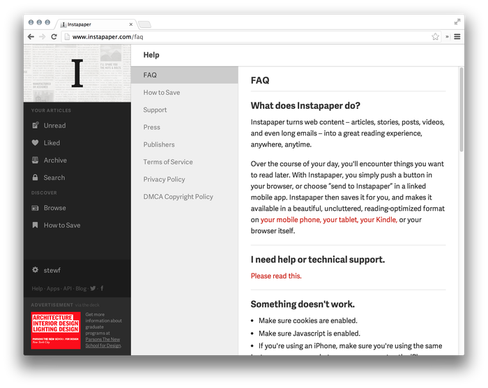 Instapaper Website (2013 Redesign) 4