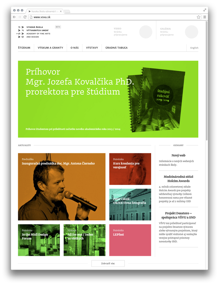 VŠVU Website 2